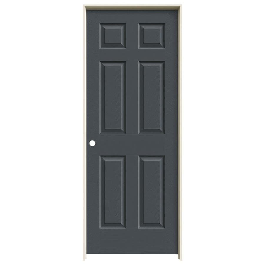JELD-WEN Slate Prehung Solid Core 6-Panel Interior Door (Actual: 81.688-in x 25.562-in)