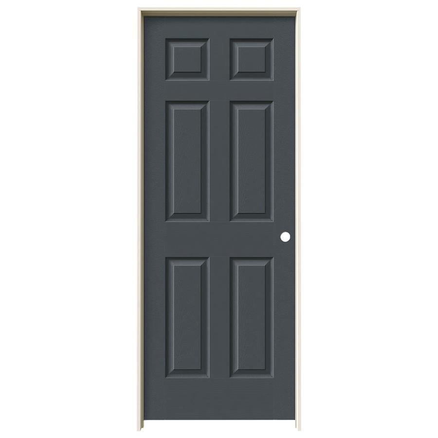 JELD-WEN Slate Prehung Solid Core 6-Panel Interior Door (Actual: 81.688-in x 29.562-in)