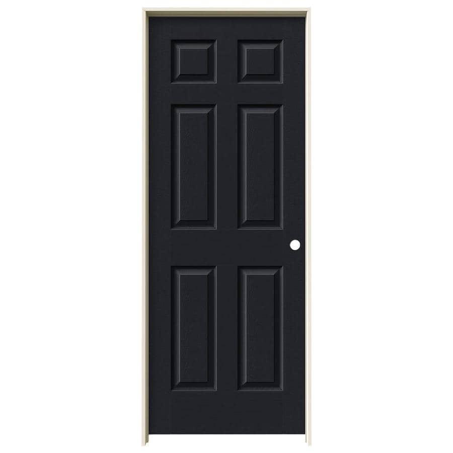 JELD-WEN Midnight Prehung Solid Core 6-Panel Interior Door (Actual: 81.688-in x 25.562-in)
