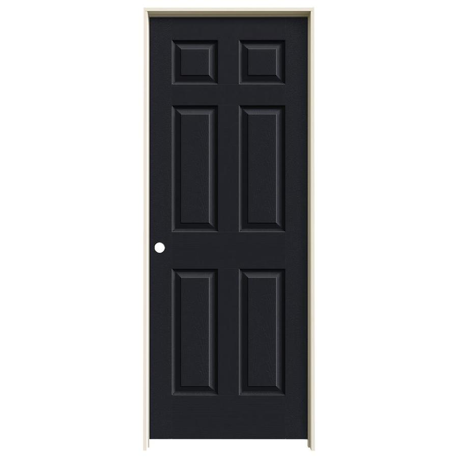 JELD-WEN Midnight Prehung Solid Core 6-Panel Interior Door (Actual: 81.688-in x 33.562-in)