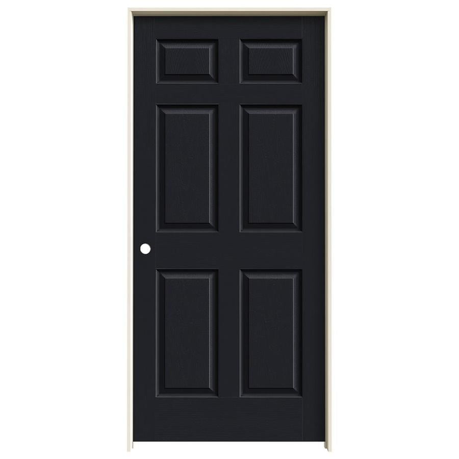 JELD-WEN Midnight Prehung Solid Core 6-Panel Interior Door (Actual: 81.688-in x 37.562-in)