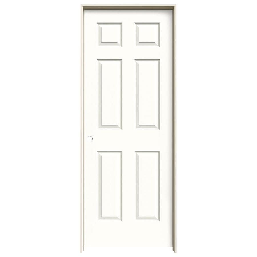 JELD-WEN Snow Storm Prehung Hollow Core 6-Panel Interior Door (Actual: 81.688-in x 31.562-in)