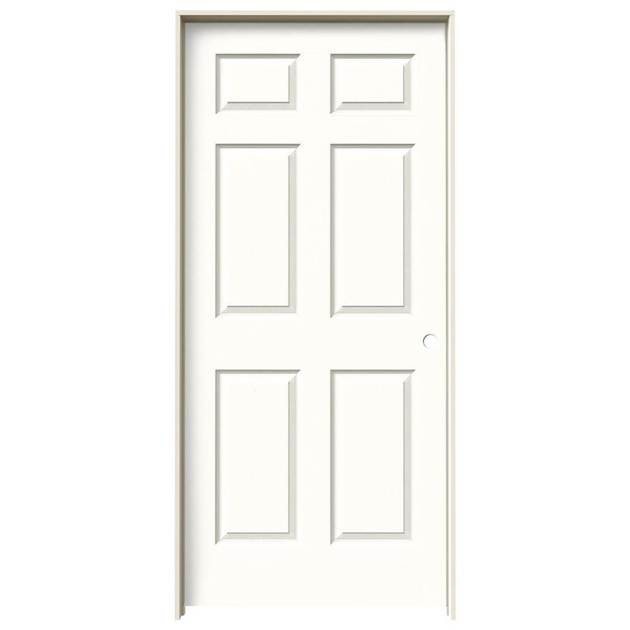 JELD-WEN Snow Storm Prehung Hollow Core 6-Panel Interior Door (Actual: 81.688-in x 37.562-in)