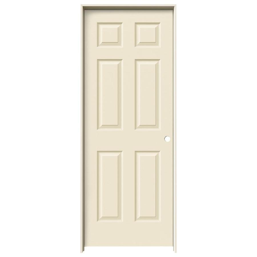 JELD-WEN Cream-N-Sugar Prehung Hollow Core 6-Panel Interior Door (Actual: 81.688-in x 25.562-in)