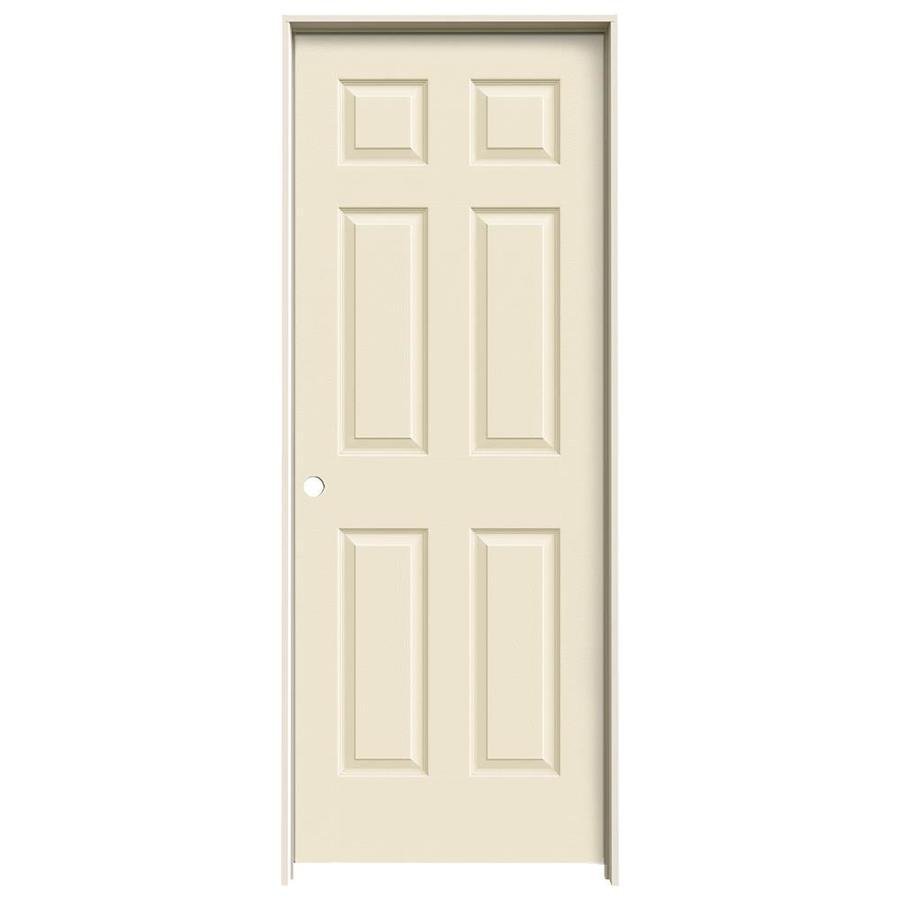 JELD-WEN Cream-N-Sugar Prehung Hollow Core 6-Panel Interior Door (Actual: 81.688-in x 29.562-in)