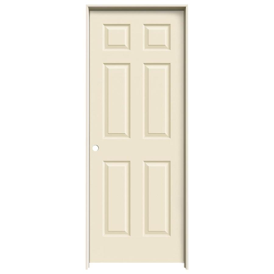 JELD-WEN Colonist Cream-n-sugar 6-panel Single Prehung Interior Door (Common: 32-in x 80-in; Actual: 33.562-in x 81.688-in)