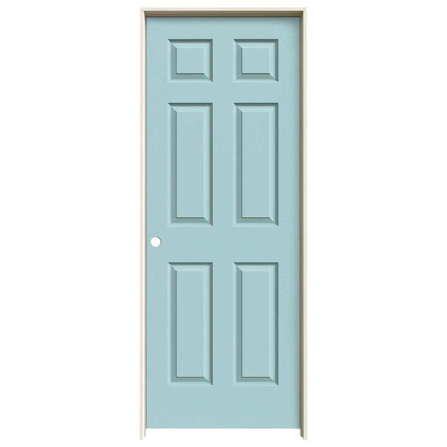 JELD-WEN Sea Mist Prehung Hollow Core 6-Panel Interior Door (Actual: 81.688-in x 31.562-in)