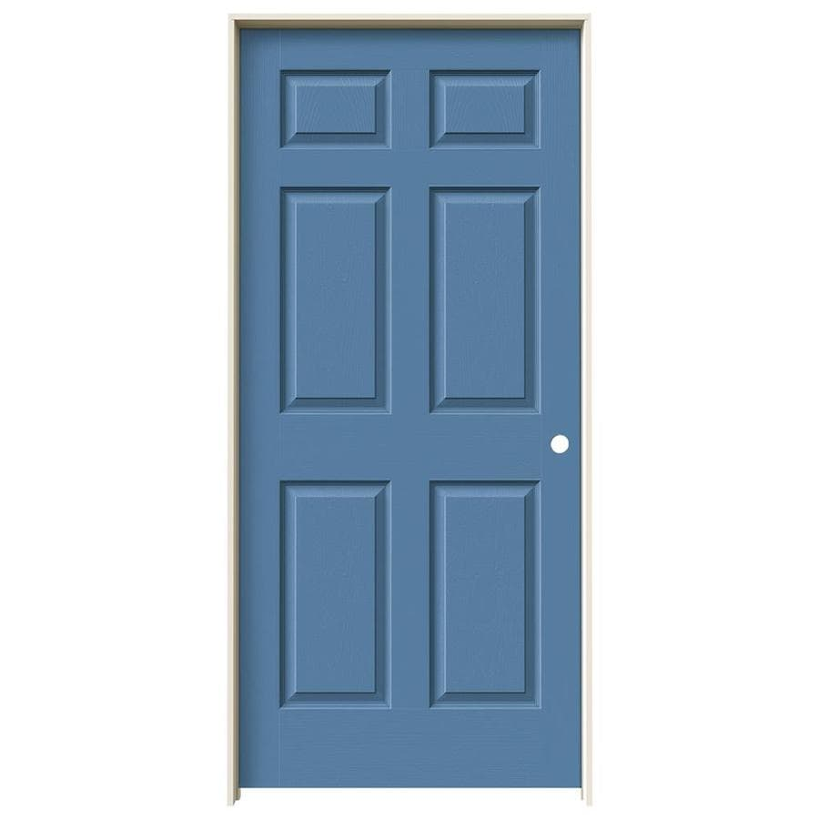 JELD-WEN Colonist Blue Heron Hollow Core Molded Composite Single Prehung Interior Door (Common: 36-in x 80-in; Actual: 81.6880-in x 37.5620-in)