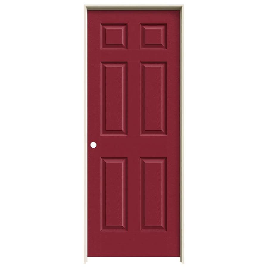 JELD-WEN Barn Red Prehung Hollow Core 6-Panel Interior Door (Actual: 81.688-in x 31.562-in)