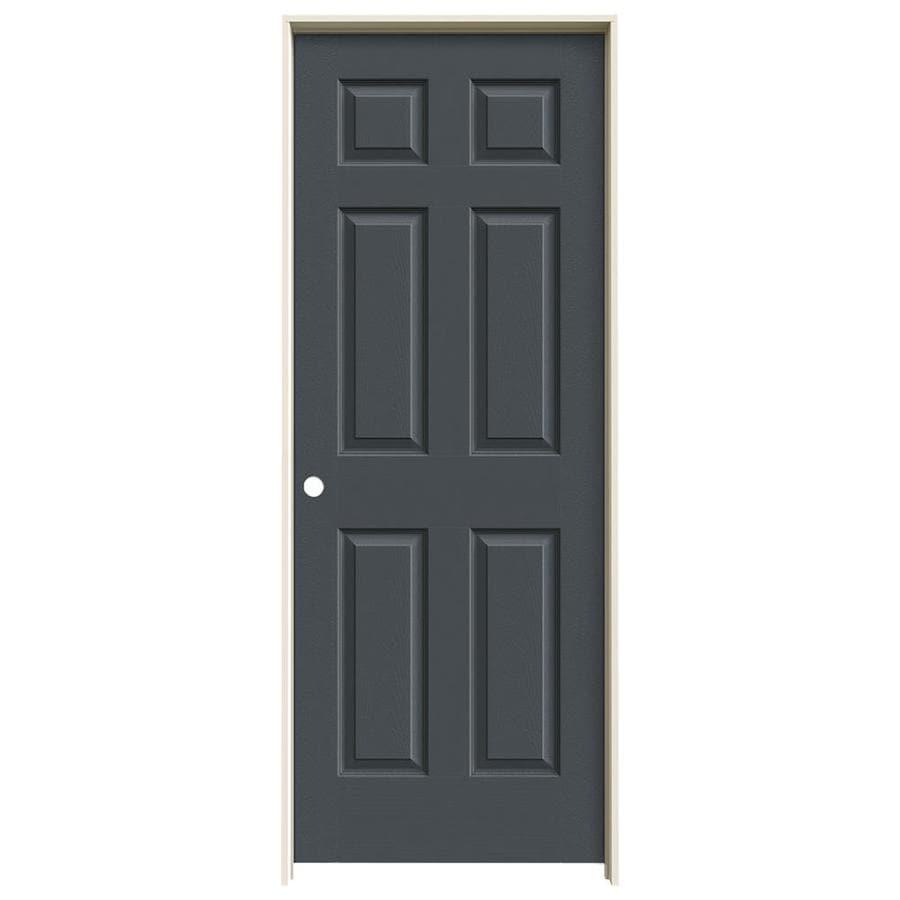 JELD-WEN Slate Prehung Hollow Core 6-Panel Interior Door (Actual: 81.688-in x 25.562-in)