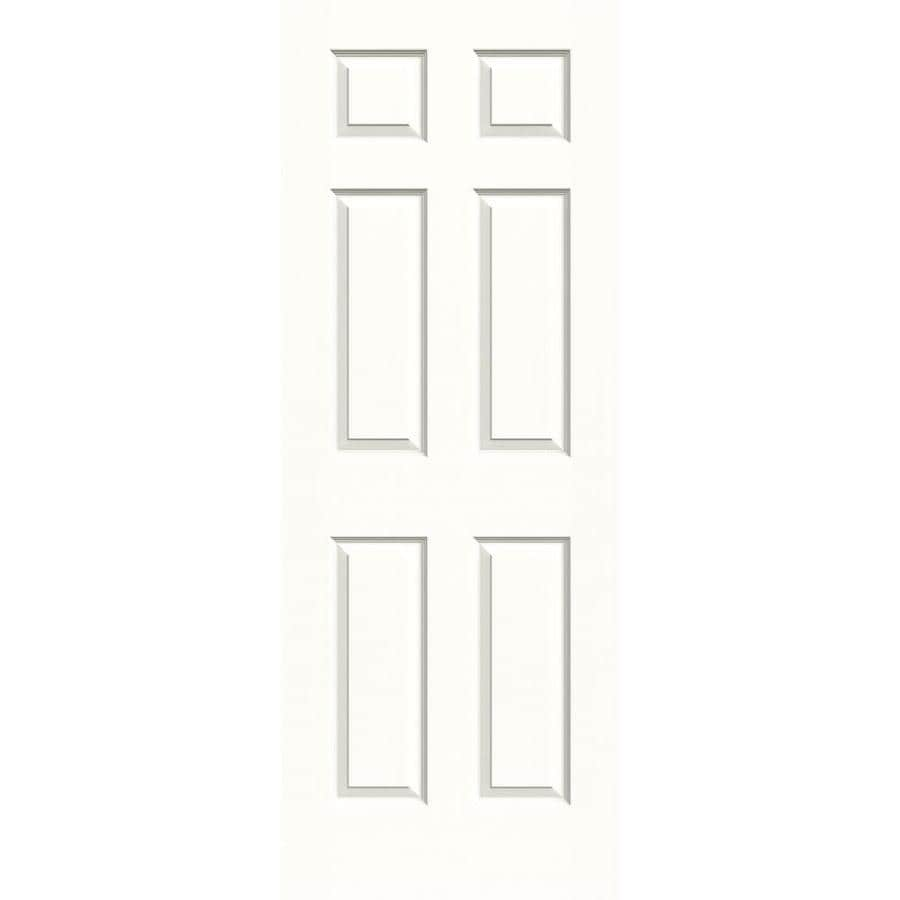 JELD-WEN Colonist Snow Storm 6-panel Slab Interior Door (Common: 30-in x 80-in; Actual: 30-in x 80-in)