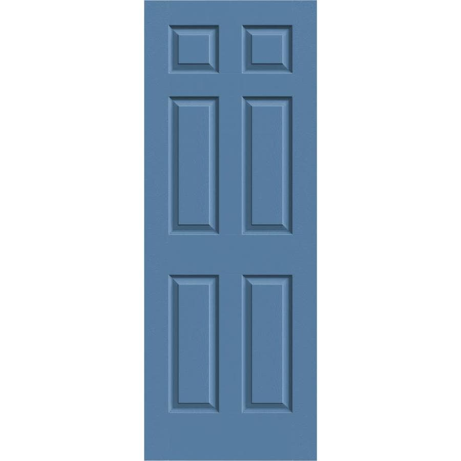 JELD-WEN Colonist Blue Heron Solid Core 6-Panel Slab Interior Door (Common: 30-in x 80-in; Actual: 30-in x 80-in)