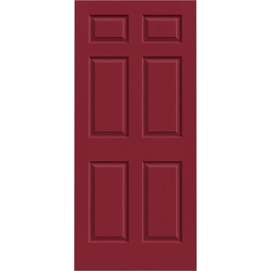 JELD-WEN Barn Red Solid Core 6-Panel Slab Interior Door (Common: 36-in x 80-in; Actual: 36-in x 80-in)