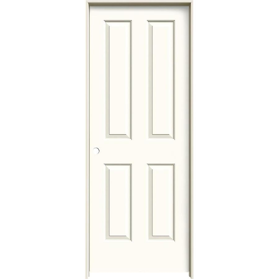 JELD-WEN Coventry White 4 Panel Square Single Prehung Interior Door (Common: 28-in x 80-in; Actual: 29.562-in x 81.688-in)