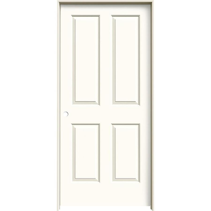JELD-WEN Coventry White Prehung Hollow Core 4 Panel Square Interior Door (Common: 36-in x 80-in; Actual: 37.562-in x 81.688-in)