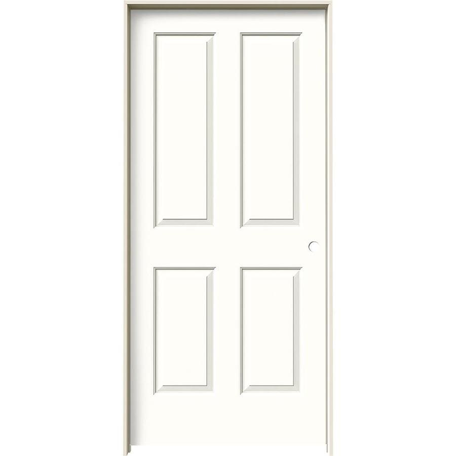 JELD-WEN Coventry Snow Storm Prehung Hollow Core 4 Panel Square Interior Door (Common: 36-in x 80-in; Actual: 37.562-in x 81.688-in)
