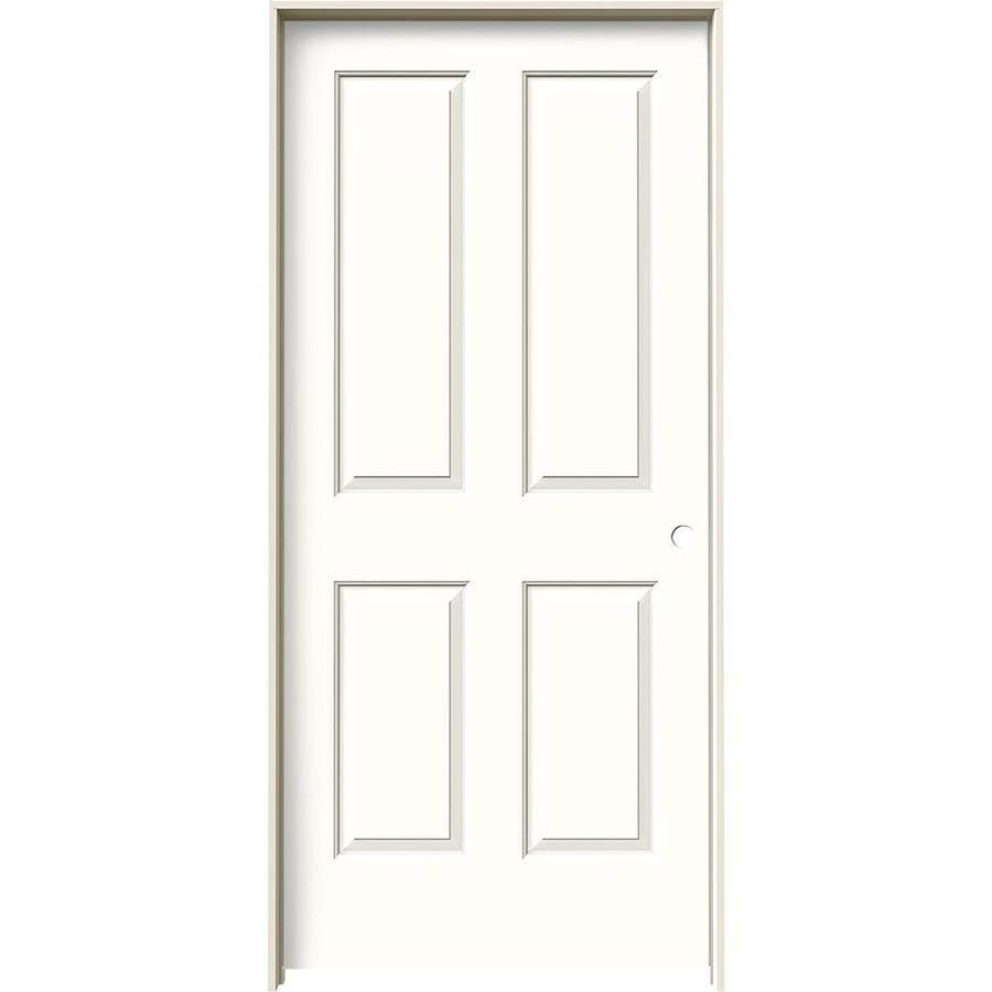 JELD-WEN Coventry Snow Storm 4 Panel Square Single Prehung Interior Door (Common: 36-in x 80-in; Actual: 37.562-in x 81.688-in)