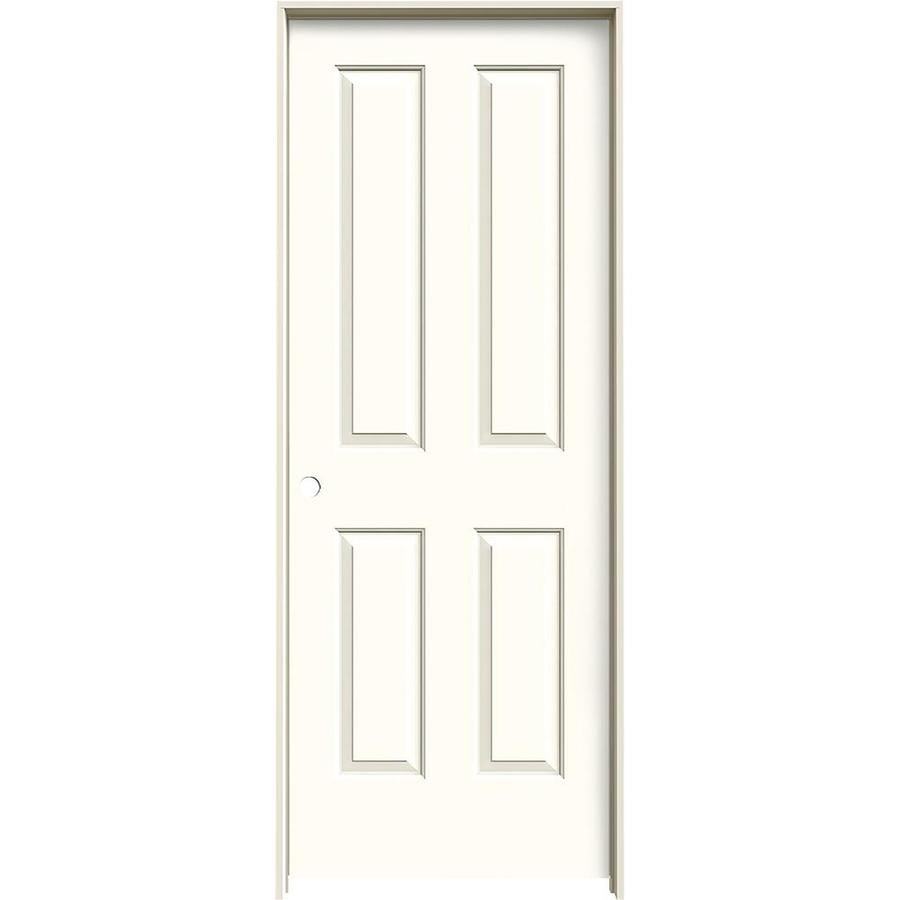 Shop jeld wen coventry moonglow 4 panel square single for Prehung interior doors