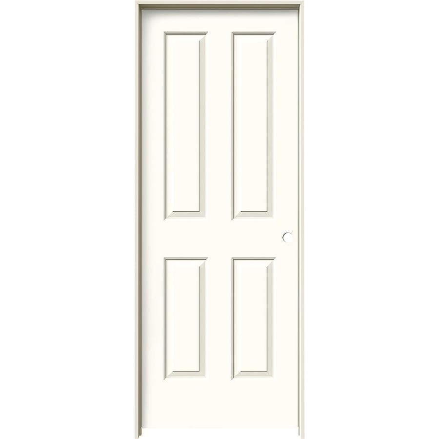 JELD-WEN Coventry Moonglow Prehung Hollow Core 4 Panel Square Interior Door (Common: 32-in x 80-in; Actual: 33.562-in x 81.688-in)