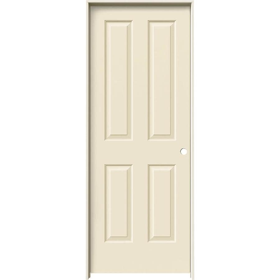 JELD-WEN Coventry Cream-n-sugar 4 Panel Square Single Prehung Interior Door (Common: 32-in x 80-in; Actual: 33.562-in x 81.688-in)