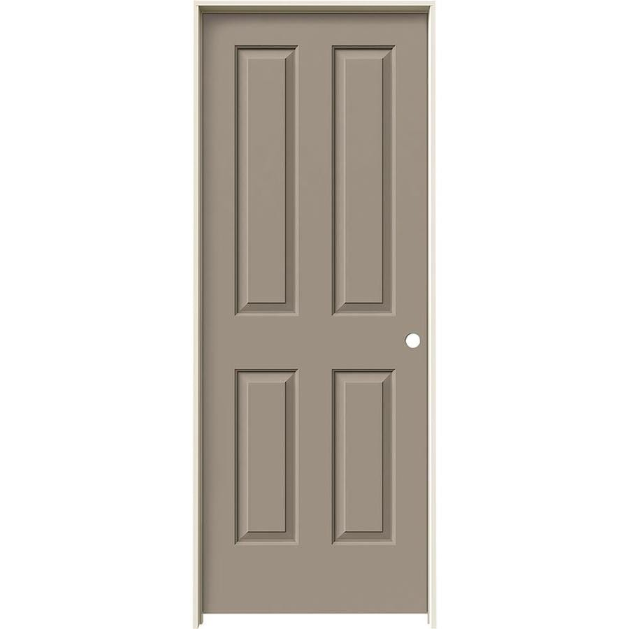 JELD-WEN Sand Piper Prehung Hollow Core 4 Panel Square Interior Door (Common: 28-in x 80-in; Actual: 29.562-in x 81.688-in)