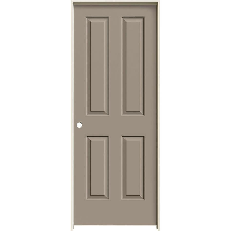 JELD-WEN Coventry Sand Piper Prehung Hollow Core 4 Panel Square Interior Door (Common: 32-in x 80-in; Actual: 33.562-in x 81.688-in)