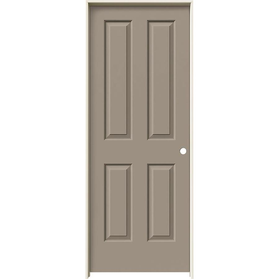 JELD-WEN Coventry Sand Piper 4 Panel Square Single Prehung Interior Door (Common: 32-in x 80-in; Actual: 33.562-in x 81.688-in)