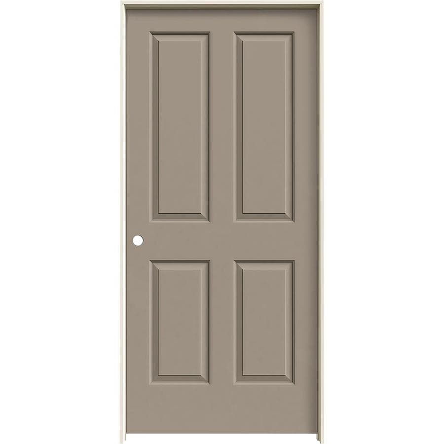 JELD-WEN Coventry Sand Piper Prehung Hollow Core 4 Panel Square Interior Door (Common: 36-in x 80-in; Actual: 37.562-in x 81.688-in)