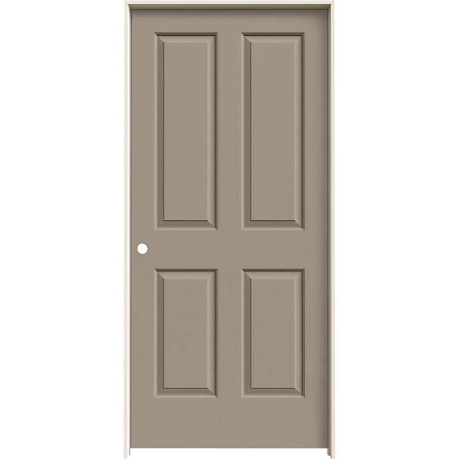 JELD-WEN Coventry Sand Piper 4 Panel Square Single Prehung Interior Door (Common: 36-in x 80-in; Actual: 37.562-in x 81.688-in)