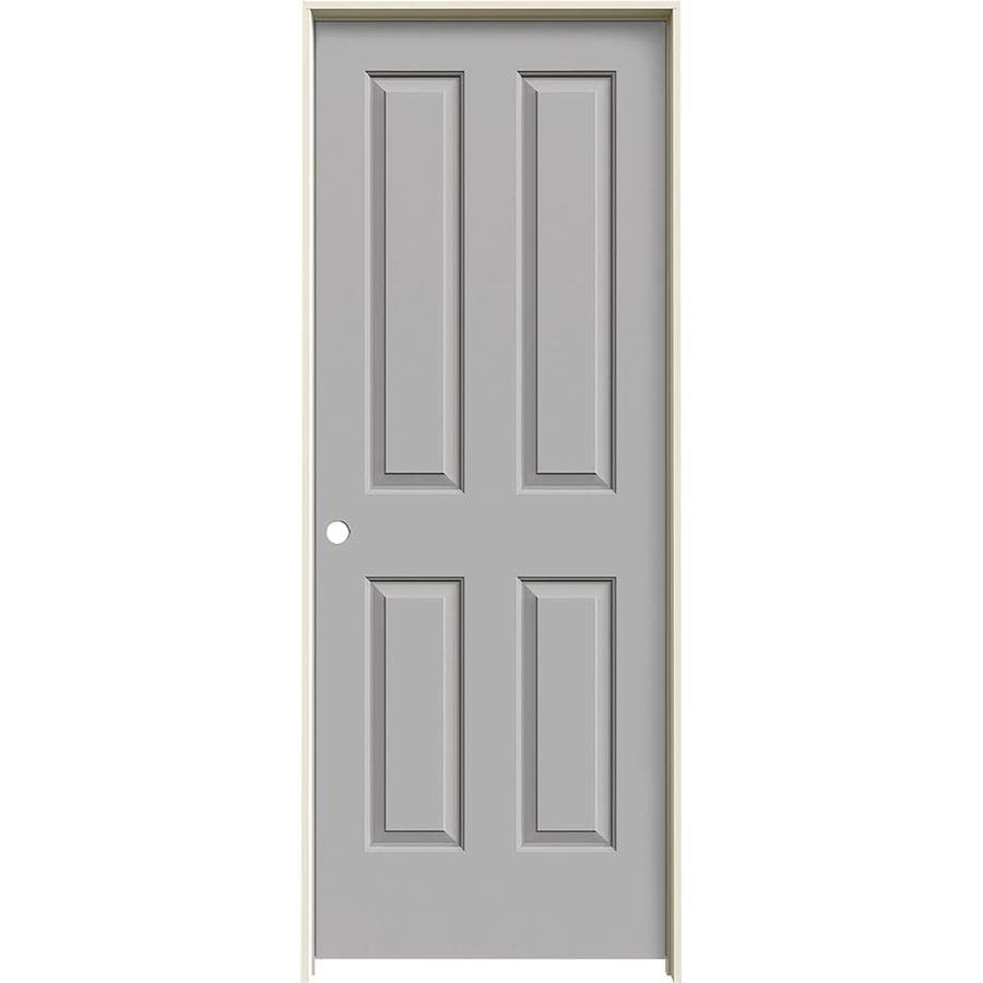 JELD-WEN Coventry Driftwood 4 Panel Square Single Prehung Interior Door (Common: 32-in x 80-in; Actual: 33.562-in x 81.688-in)