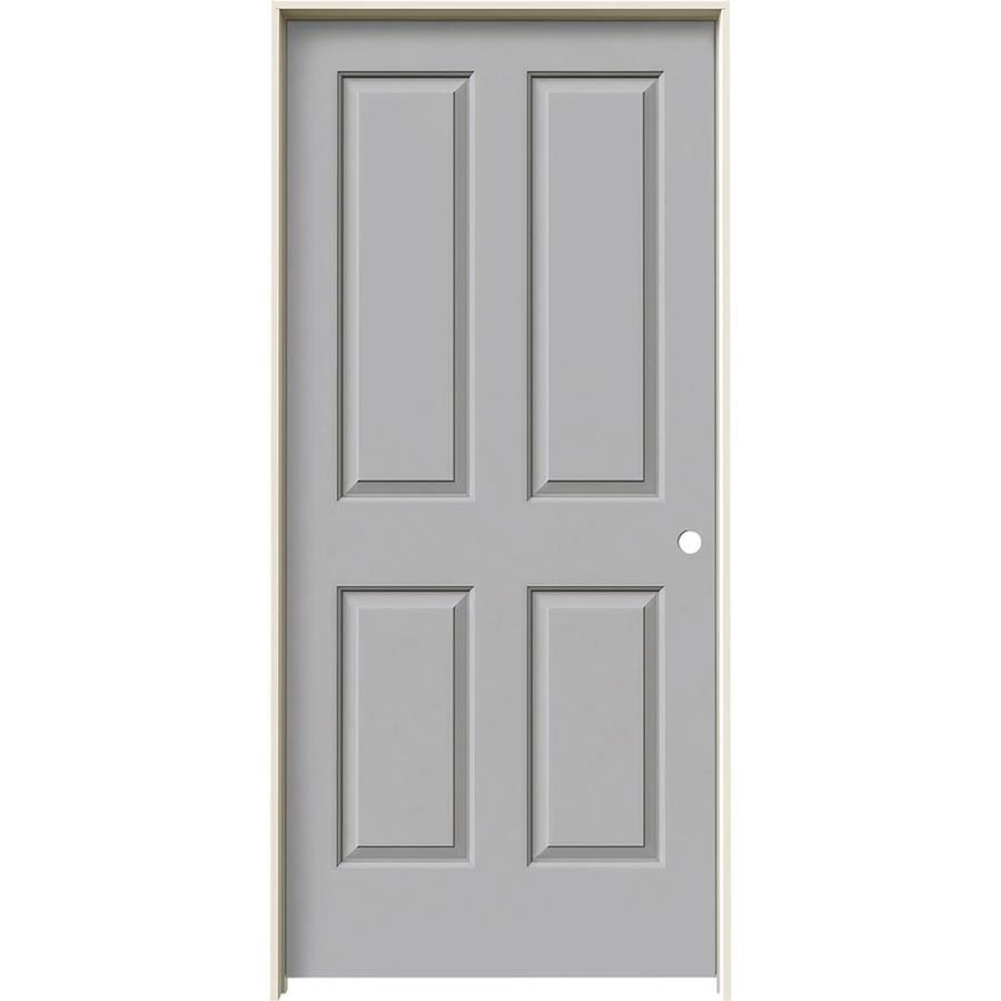 JELD-WEN Driftwood Prehung Hollow Core 4 Panel Square Interior Door (Common: 36-in x 80-in; Actual: 37.562-in x 81.688-in)