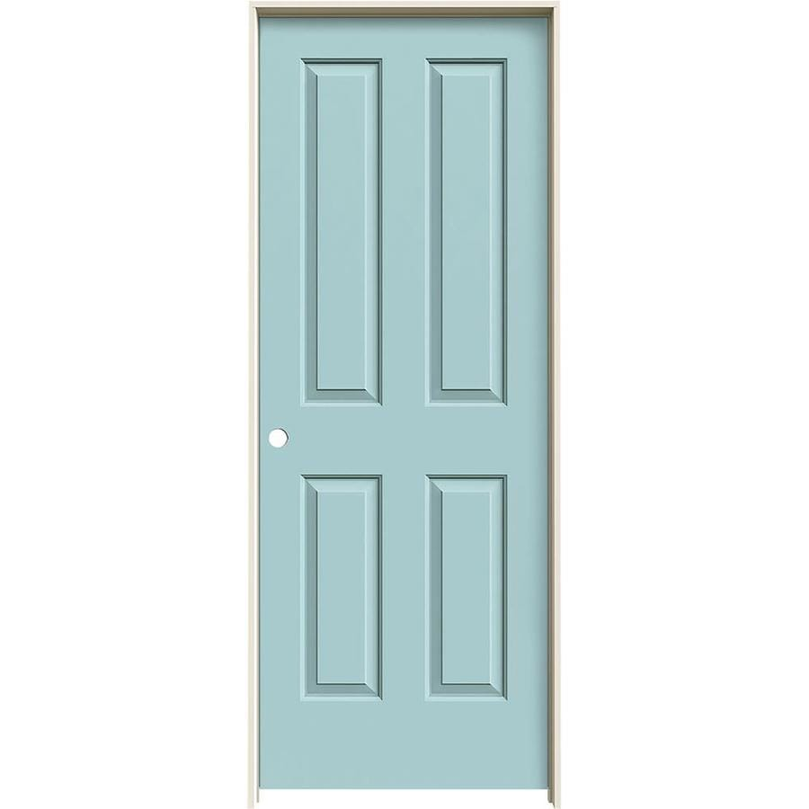 JELD-WEN Coventry Sea Mist Prehung Hollow Core 4 Panel Square Interior Door (Common: 30-in x 80-in; Actual: 31.562-in x 81.688-in)