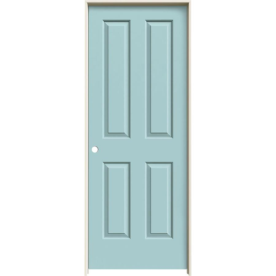 JELD-WEN Coventry Sea Mist Prehung Hollow Core 4 Panel Square Interior Door (Common: 32-in x 80-in; Actual: 33.562-in x 81.688-in)