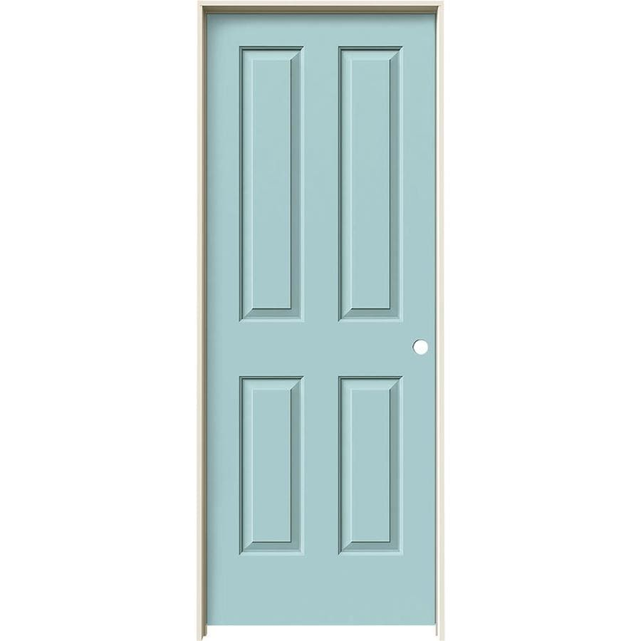 JELD-WEN Coventry Sea Mist Prehung Hollow Core 4 Panel Square Interior Door (Common: 32-in x 80-in; Actual: 33.562-in x 81.688-in)