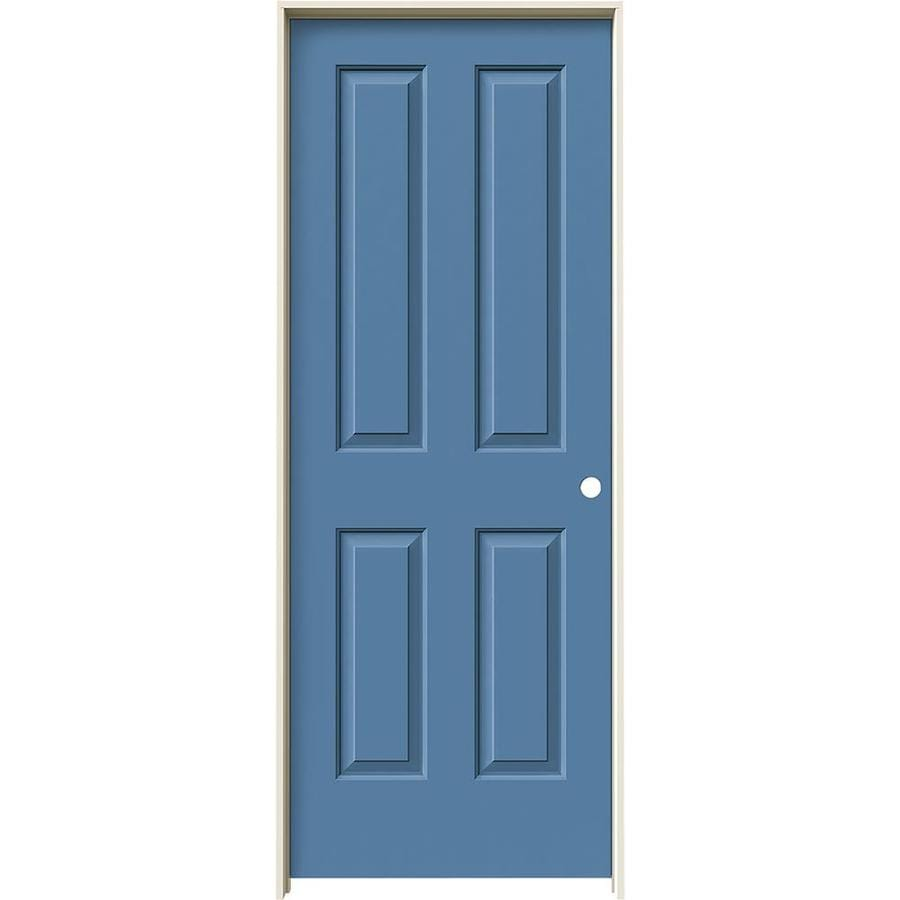 JELD-WEN Coventry Blue Heron Prehung Hollow Core 4 Panel Square Interior Door (Common: 28-in x 80-in; Actual: 29.562-in x 81.688-in)