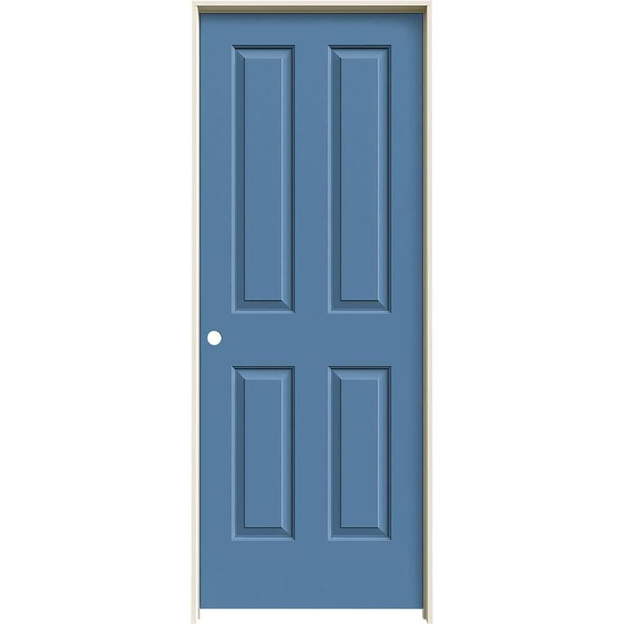 JELD-WEN Coventry Blue Heron 4 Panel Square Single Prehung Interior Door (Common: 32-in x 80-in; Actual: 33.562-in x 81.688-in)