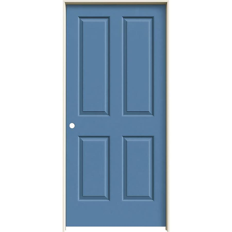 JELD-WEN Blue Heron Prehung Hollow Core 4 Panel Square Interior Door (Common: 36-in x 80-in; Actual: 37.562-in x 81.688-in)