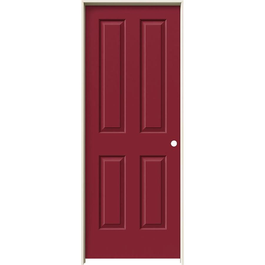 JELD-WEN Coventry Barn Red Prehung Hollow Core 4 Panel Square Interior Door (Common: 30-in x 80-in; Actual: 31.562-in x 81.688-in)
