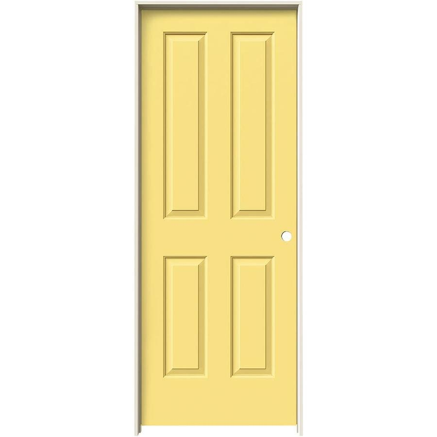 JELD-WEN Coventry Marigold Prehung Hollow Core 4 Panel Square Interior Door (Common: 30-in x 80-in; Actual: 31.562-in x 81.688-in)