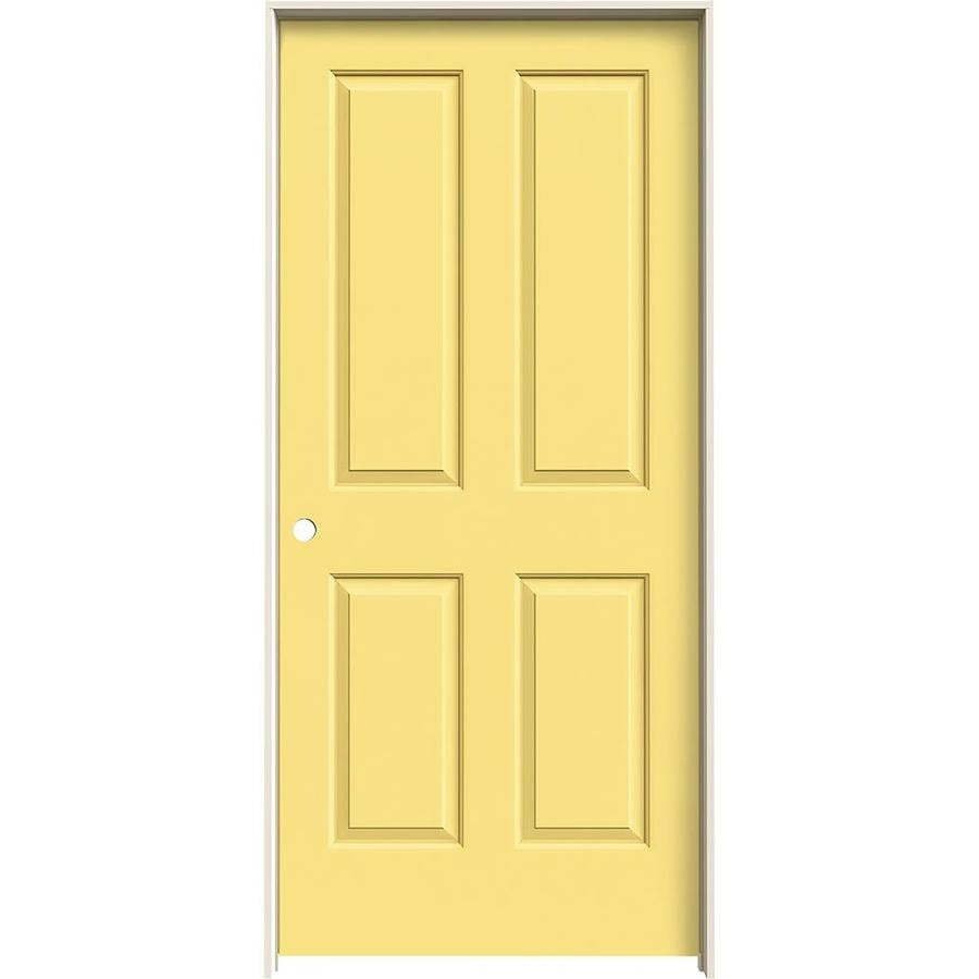 JELD-WEN Coventry Marigold 4 Panel Square Single Prehung Interior Door (Common: 36-in x 80-in; Actual: 37.562-in x 81.688-in)