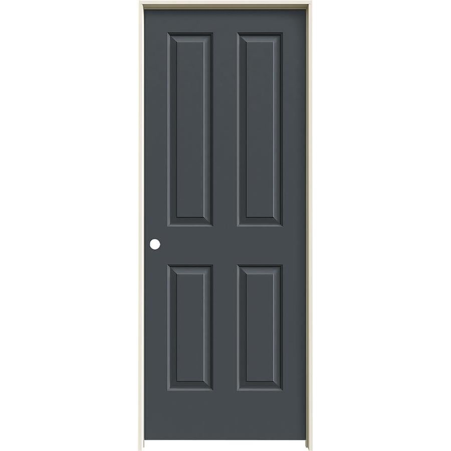 JELD-WEN Coventry Slate Prehung Hollow Core 4 Panel Square Interior Door (Common: 28-in x 80-in; Actual: 29.562-in x 81.688-in)