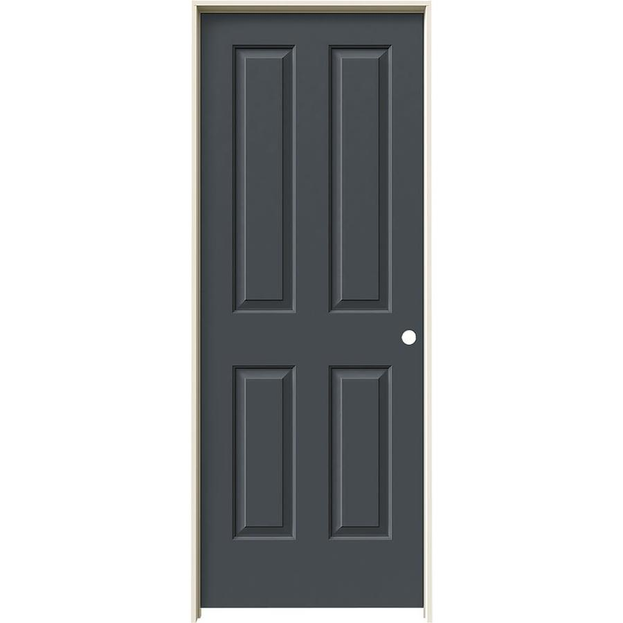 JELD-WEN Coventry Slate 4 Panel Square Single Prehung Interior Door (Common: 28-in x 80-in; Actual: 29.562-in x 81.688-in)