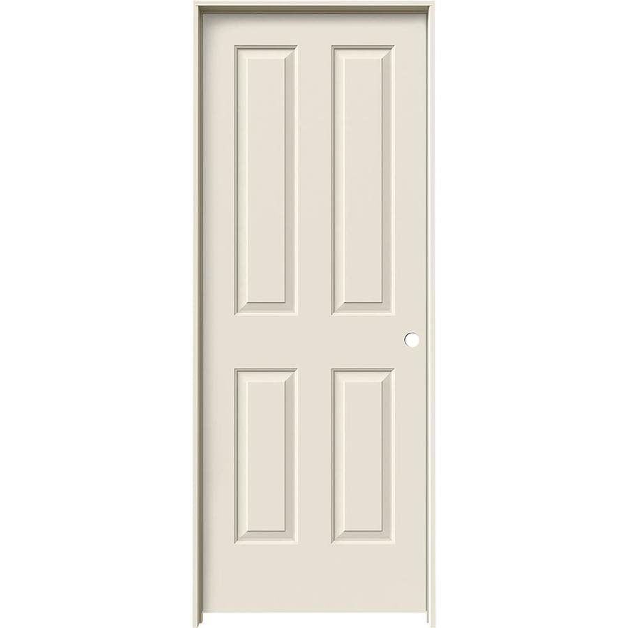Shop jeld wen coventry 4 panel square single prehung for Prehung interior doors
