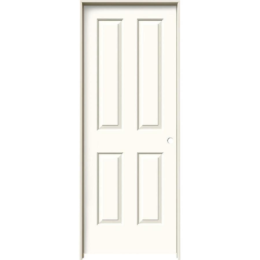 JELD-WEN White Prehung Solid Core 4 Panel Square Interior Door (Common: 30-in x 80-in; Actual: 31.562-in x 81.688-in)