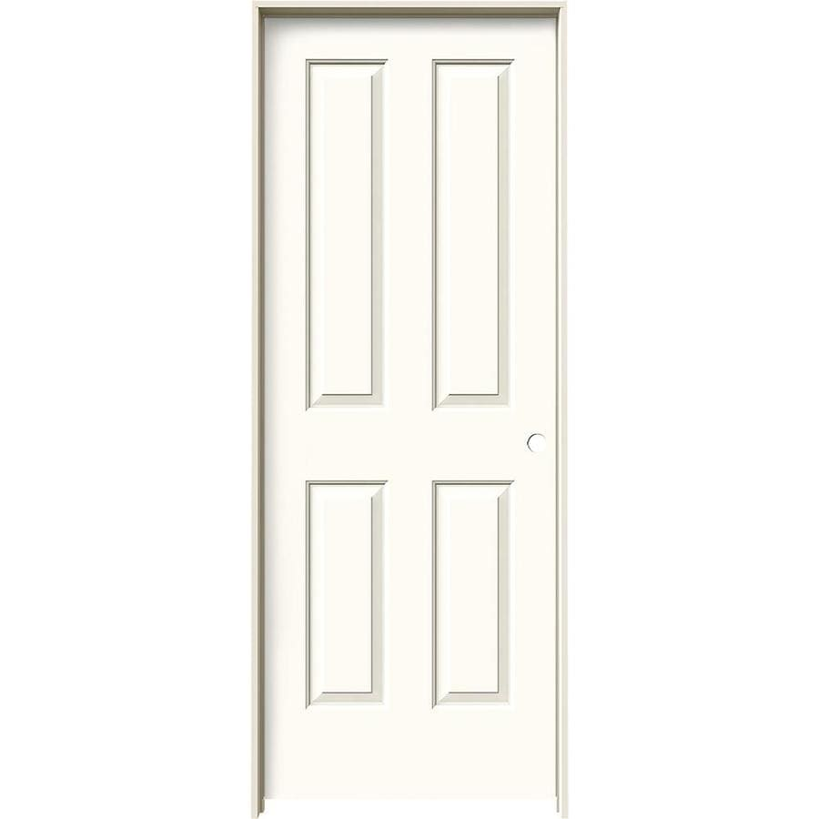 JELD-WEN White Prehung Solid Core 4 Panel Square Interior Door (Common: 32-in x 80-in; Actual: 33.562-in x 81.688-in)