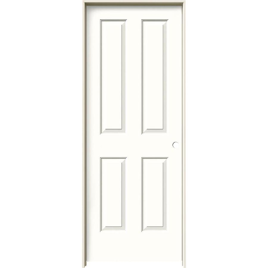 JELD-WEN Snow Storm Prehung Solid Core 4 Panel Square Interior Door (Common: 28-in x 80-in; Actual: 29.562-in x 81.688-in)