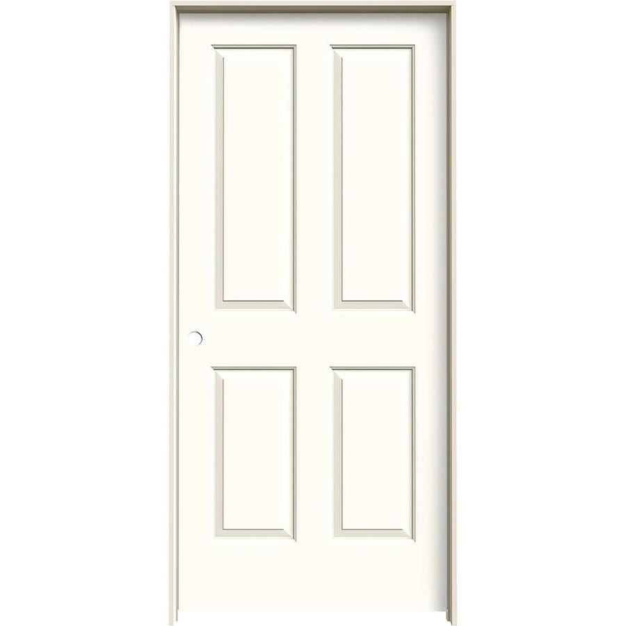JELD-WEN Moonglow 4 Panel Square Single Prehung Interior Door (Common: 36-in x 80-in; Actual: 37.562-in x 81.688-in)
