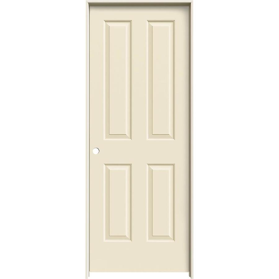JELD-WEN Cream-n-sugar 4 Panel Square Single Prehung Interior Door (Common: 32-in x 80-in; Actual: 33.562-in x 81.688-in)