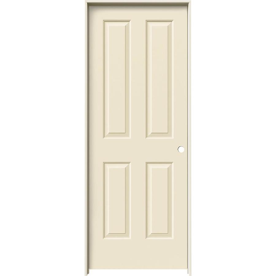 JELD-WEN Cream-N-Sugar Prehung Solid Core 4 Panel Square Interior Door (Common: 32-in x 80-in; Actual: 33.562-in x 81.688-in)