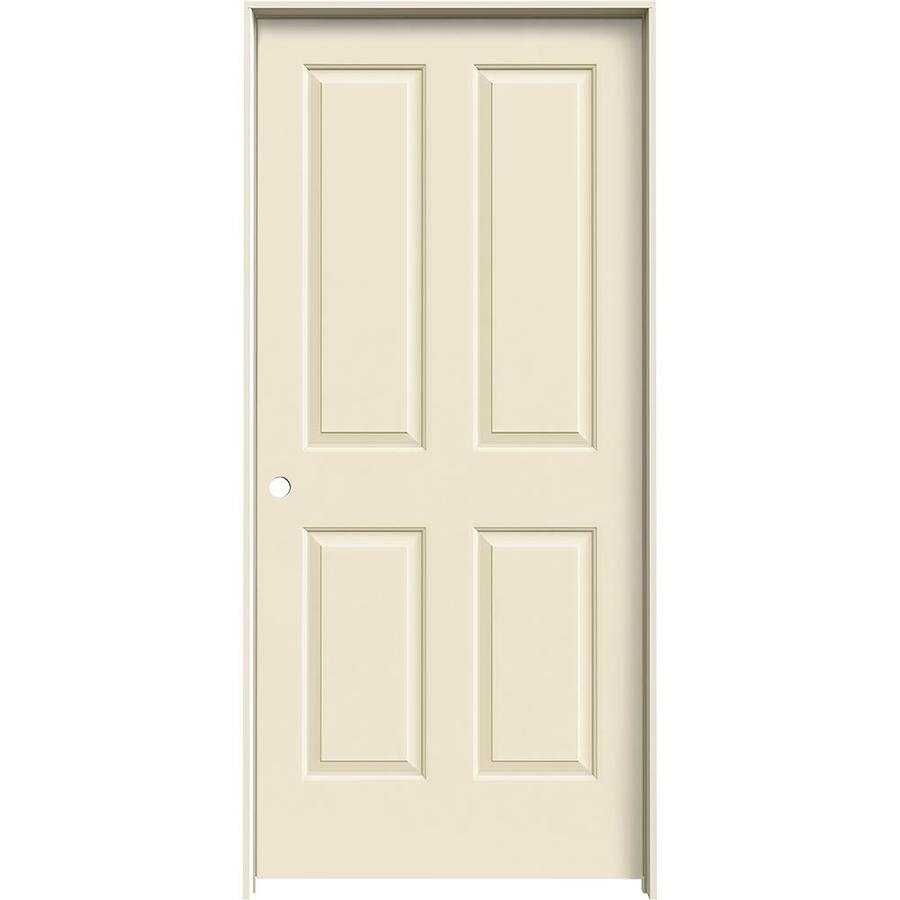 JELD-WEN Cream-n-sugar 4 Panel Square Single Prehung Interior Door (Common: 36-in x 80-in; Actual: 37.562-in x 81.688-in)